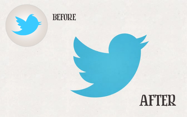 The old and new Twitter logos